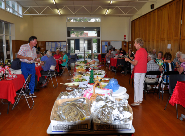 The wonderful spread of food at the Christmas Dinner