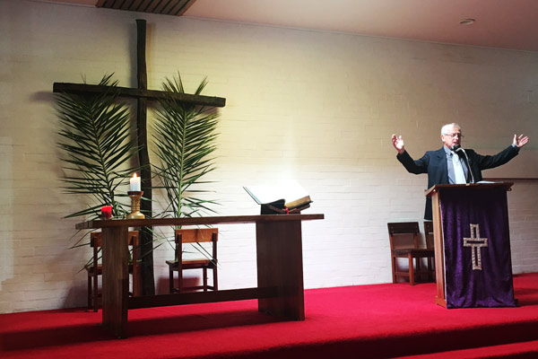 Rev John Connan leading our Palm Sunday Service