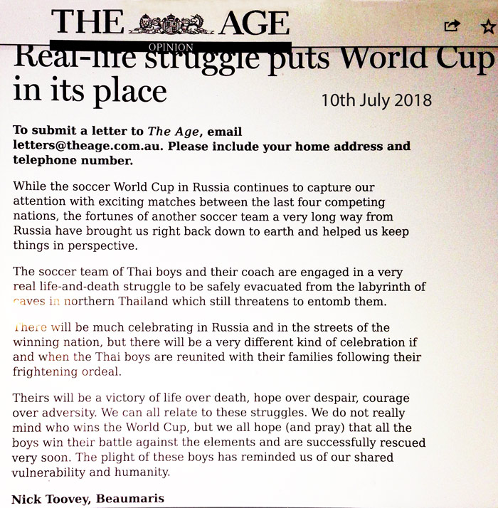Nick Toovey letter to The Age